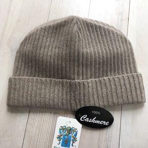 Portolano Accessories - Portolano Ribbed Cuffed 100% Cashmere Beanie Brown